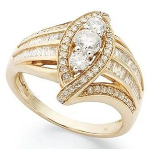 18K Gold Plated White Sapphire Bridal Band Ring